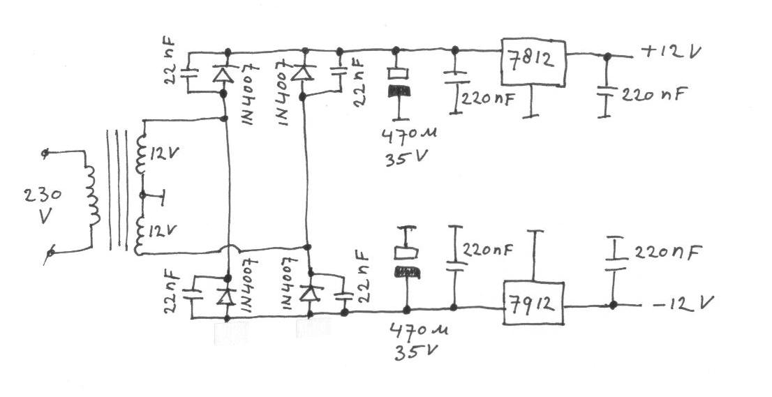 The circuit needs a plus and minus 12 volt power supply.